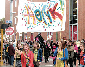 A joyful noise with a message or two – or more – will be hitting the streets of Somerville this weekend as the HONK! Festival sounds off.