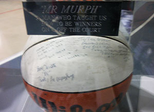 Photos and other memorabilia from Mr. Murph's time with the boys basketball program was on hand Friday.