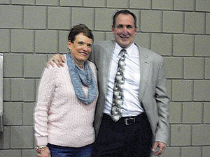 Lorne A. Murphy's children, Lorne P. and Judy, attended Friday's ceremony in their father's honor at the Brune Field House.