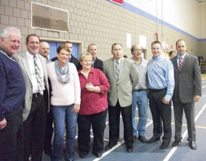 "Friends and family of Lorne A. Murphy, known as ""Mr. Murph,"" attended a ceremony in his honor prior to the Somerville-Malden game at the Brune Field House Jan. 10."