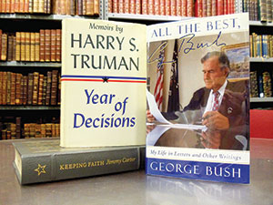 Worthwhile presidential collectibles can include biographical books, signed letters, autographs, and campaign materials.