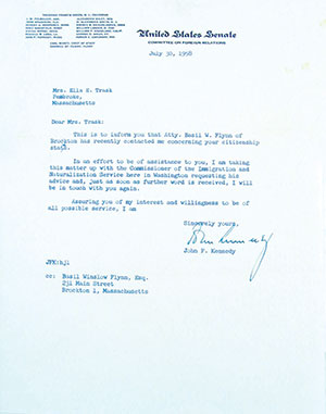 Letter signed by JFK.