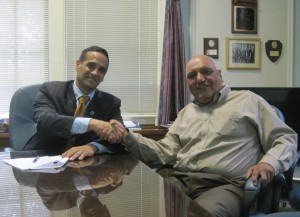 Mayor Joseph A. Curtatone (left) and SEIU Local 3 Business Agent Edmund 'Ike' Gabriel.