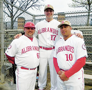 (L to R) Alibrandis first base coach John Moore along with players Kevin Salines and Anthony Perry. — Photo courtesy Cameron Lynch