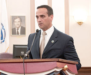 """Mayor Curtatone explained the city's plan for creating more affordable housing with its """"Sustainable Neighborhoods"""" program at a public meeting last week. ~Photo by Douglas Yu"""