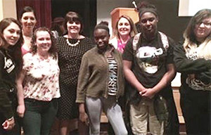 ( Left to Right ) Mikayla Arenella, Melissa Lanzieri, Taylor Corning, District Attorney Marian Ryan, Christine Benjamin, Margaret DePasquale, Gabby Etienne, Amber West.