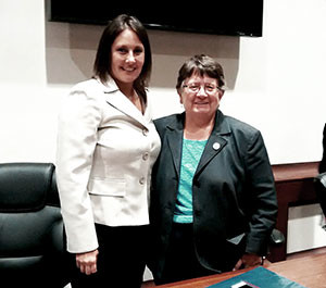 The two chairs of the Committee on Mental Health and Substance Abuse, State Senator Jennifer L. Flanagan and State Representative Elizabeth Malia.