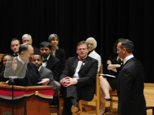 Mayor Joseph Curtatone is sworn in for another term as Mayor of Somerville. ~Photo by Donald Norton