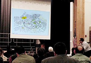 Somerville residents were briefed on the latest developments in the SomerVision Union Square neighborhood plan at a public meeting held last week at the Argenziano School. ~Photo by Josie Grove