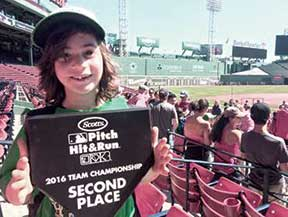 Somerville's Emmett Easton proudly showed off his Second Place award at Fenway Park.