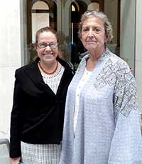 SCES peer counselor Marina Colonas (right) recently spoke at the State House about how Older Adult Peer Specialists can provide a unique connection for clients coping