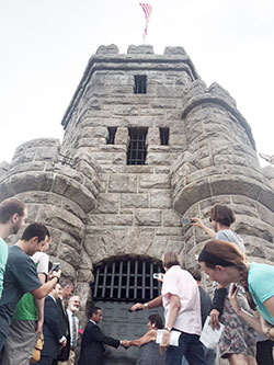 The newly renovated Prospect Hill Tower was ceremoniously reopened and dedicated last week, as city officials and the general public toured the monument and enjoyed the view from above.