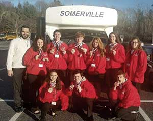 SkillsUSA group with advisors. Back row (L to R) Mario Sousa, Charlotte Kafka-Gibbons, Sam Saron, Kyle Lentini, Halle Huges, Marissa Toner, Meghan Groskof. Front Row (L to R) Emily Sabatino, Nolan Roche and Steve Hawkins.